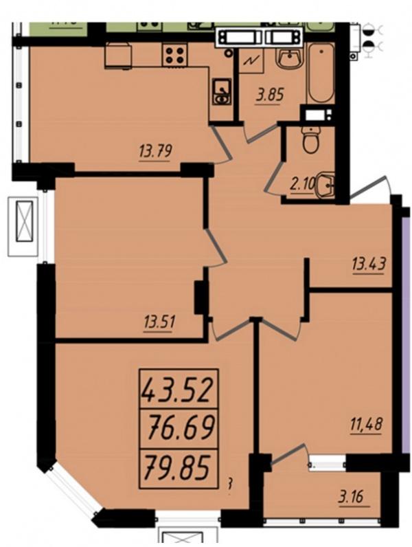 Планировки трехкомнатных квартир 79.85 м^2